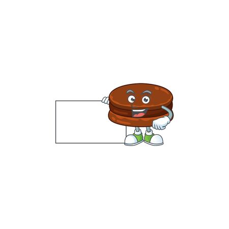 Funny chocolate alfajor cartoon design Thumbs up with a white board. Vector illustration