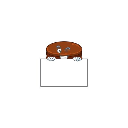 Cheerful chocolate alfajor cartoon character has a board. Vector illustration  イラスト・ベクター素材