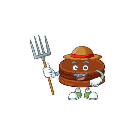 Chocolate alfajor in Farmer mascot design with hat and pitchfork  イラスト・ベクター素材