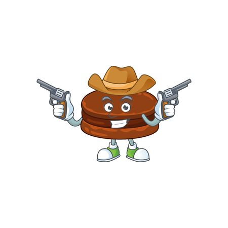 Cool cowboy cartoon design of chocolate alfajor holding guns. Vector illustration