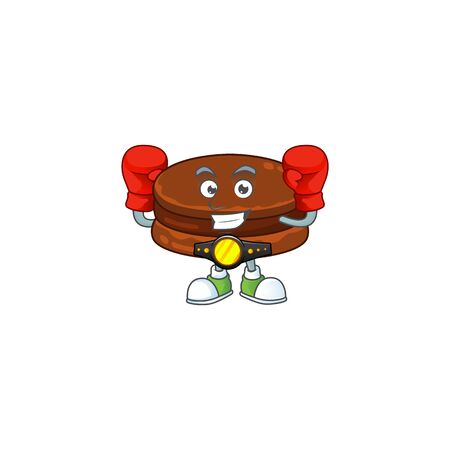 A sporty boxing of chocolate alfajor mascot design style