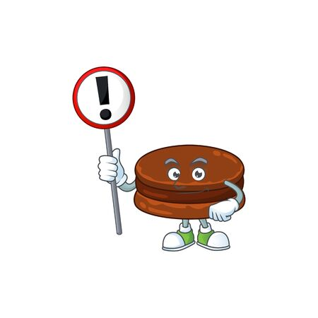Smiling cartoon design of chocolate alfajor with a sign