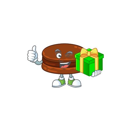 Cheerful chocolate alfajor cartoon character holding a gift box Ilustrace