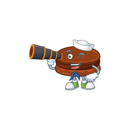 Chocolate alfajor in Sailor cartoon character design with binocular
