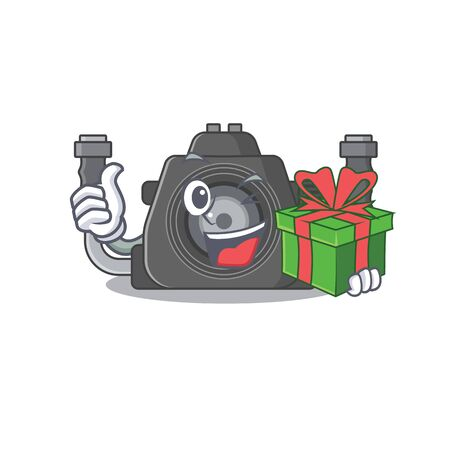 Smiley underwater camera cartoon character having a gift box. Vector illustration Ilustracja