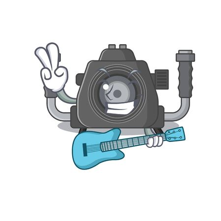 Super cool underwater camera cartoon playing a guitar. Vector illustration