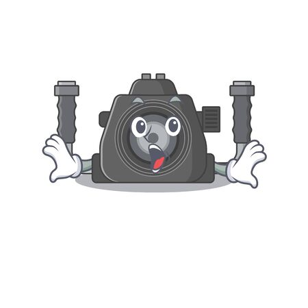A cartoon character of underwater camera making a surprised gesture. Vector illustration