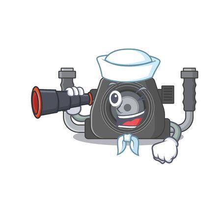 Underwater camera in Sailor cartoon character design with binocular. Vector illustration