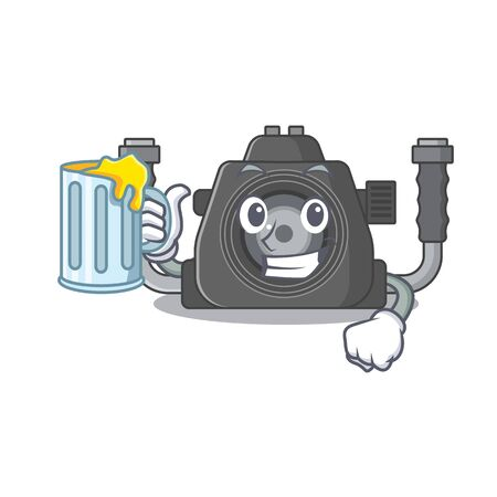 Cheerful underwater camera mascot design with a glass of beer. Vector illustration