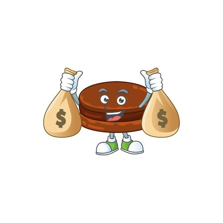 Happy rich chocolate alfajor mascot design carries money bags  イラスト・ベクター素材