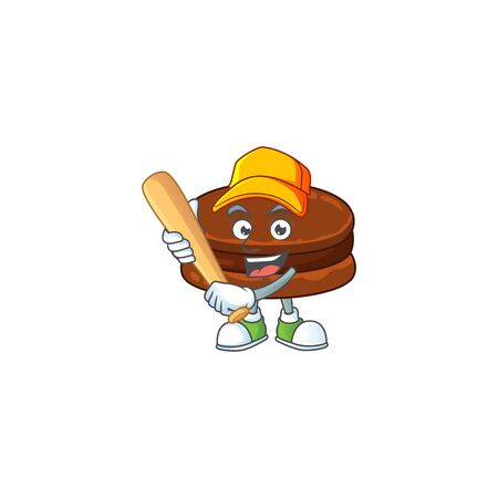 Cartoon design of chocolate alfajor having baseball stick
