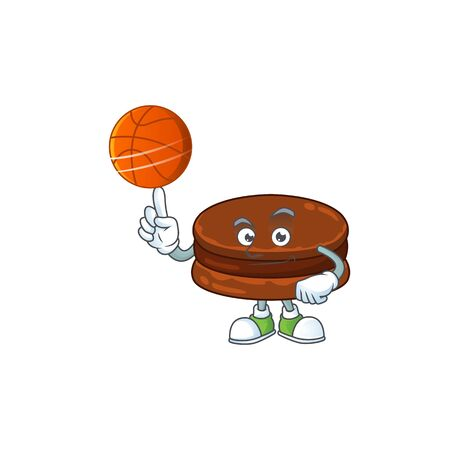 Attractive chocolate alfajor cartoon design with basketball