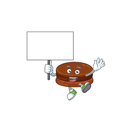Sweet chocolate alfajor cartoon character bring a board. Vector illustration