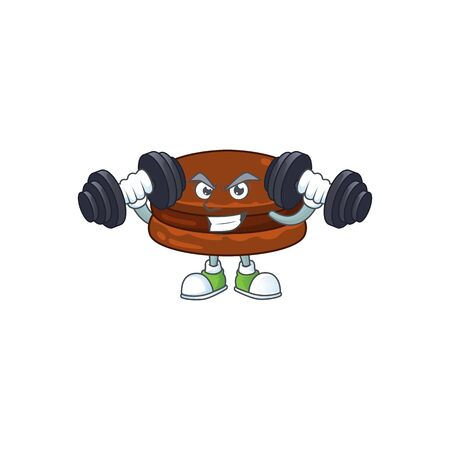 Mascot design of grinning Fitness exercise chocolate alfajor lift up barbells  イラスト・ベクター素材