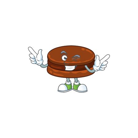 Funny chocolate alfajor cartoon design style with wink eye face. Vector illustration