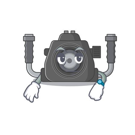 Underwater camera on waiting gesture mascot design style. Vector illustration