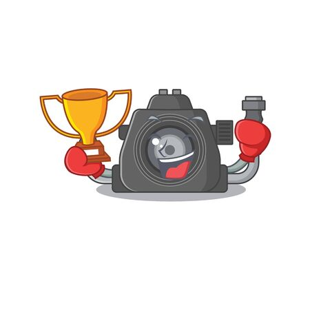 Happy face of boxing winner underwater camera in mascot design style. Vector illustration