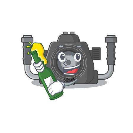 Underwater camera with bottle of beer mascot cartoon style