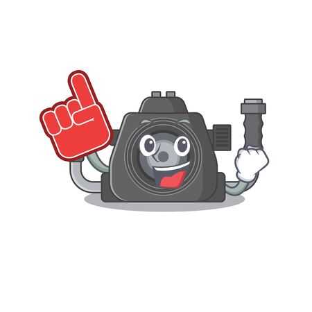 Underwater camera mascot cartoon style with Foam finger