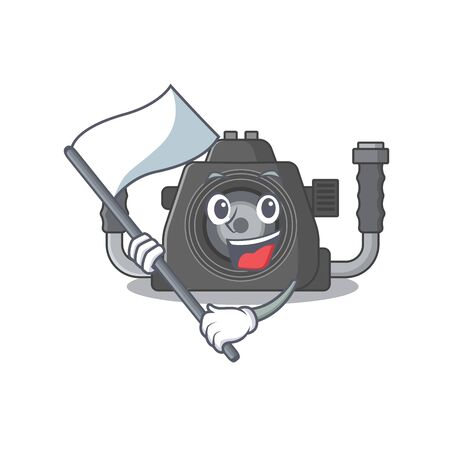 underwater camera cartoon character design holding standing flag