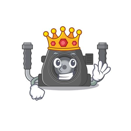 The Royal King of underwater camera cartoon character design with crown Ilustracja