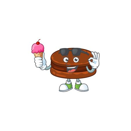 cartoon character of chocolate alfajor enjoying an ice cream