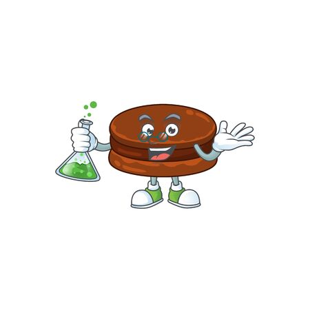 Chocolate alfajor brainy Professor Cartoon design grasp a glass tube