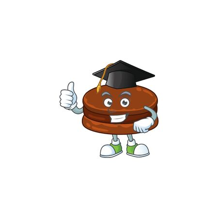 Happy face of chocolate alfajor in black graduation hat for the ceremony