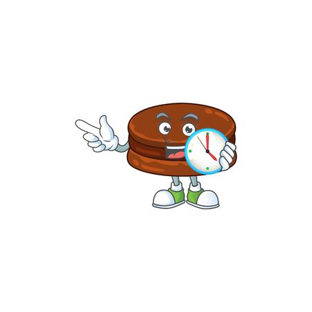 cartoon character style of cheerful chocolate alfajor with clock