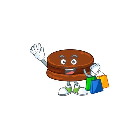 Smiley rich chocolate alfajor mascot design with Shopping bag