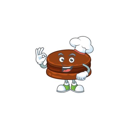 A picture of chocolate alfajor cartoon character wearing white chef hat
