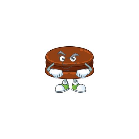 An icon of chocolate alfajor mascot design with confident gesture  イラスト・ベクター素材