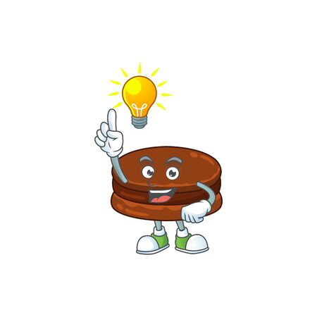 Chocolate alfajor mascot character design with have an idea cute gesture