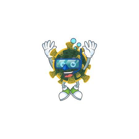 A cartoon design of new coronavirus trying Diving glasses. Vector illustration