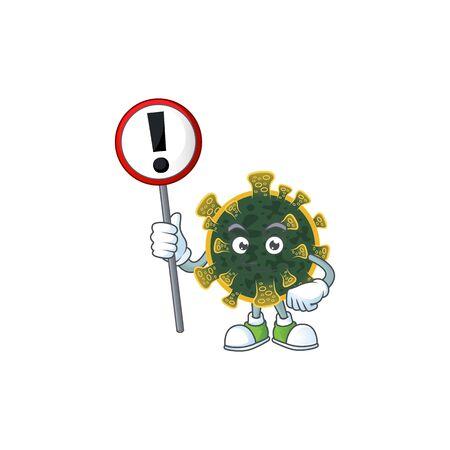Smiling cartoon design of new coronavirus with a sign
