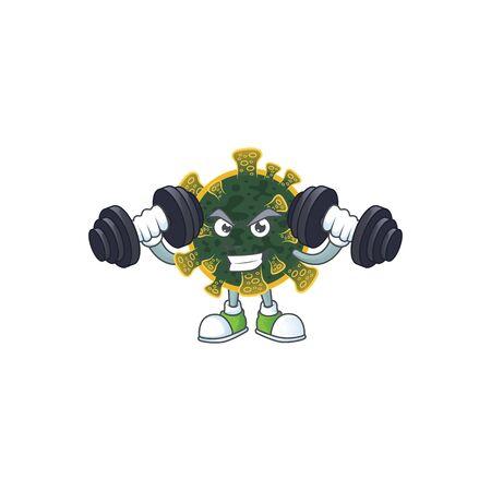 Mascot design of grinning Fitness exercise new coronavirus lift up barbells