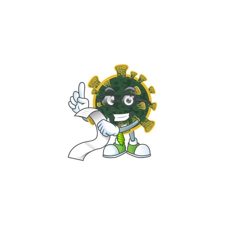 cartoon character of new coronavirus holding menu on his hand