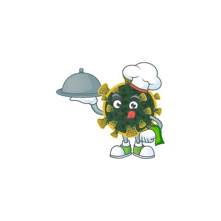 chef cartoon character of new coronavirus with food on tray