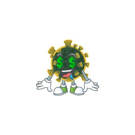 Rich new coronavirus with Money eye mascot character concept