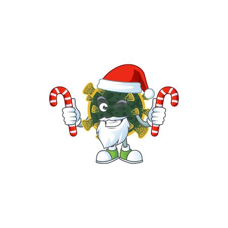 Friendly new coronavirus in Santa Cartoon character with candies