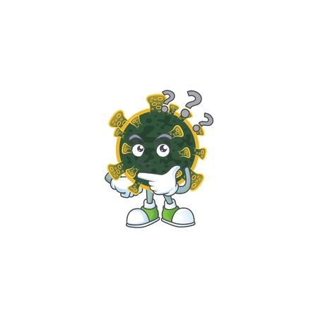 Cute new coronavirus cartoon character using a microphone