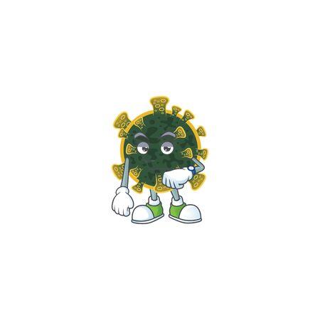 A cartoon icon of new coronavirus with waiting gesture. Vector illustration