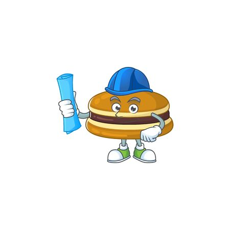 A clever Architect of dorayaki with blue prints and blue helmet