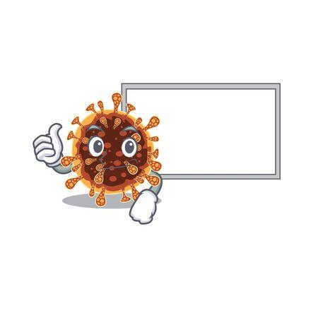 cute gamma coronavirus cartoon character Thumbs up bring a white board. Vector illustration