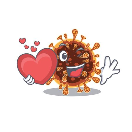 A romantic cartoon design of gamma coronavirus holding heart. Vector illustration Illustration