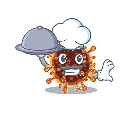 Gamma coronavirus as a chef cartoon character with food on tray. Vector illustration Illustration