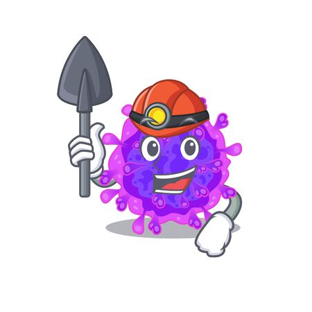 Cool miner worker of alpha coronavirus cartoon character design. Vector illustration