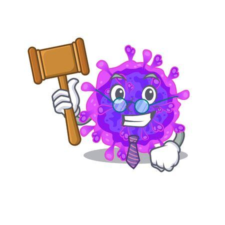 Charismatic Judge alpha coronavirus cartoon character design wearing cute glasses. Vector illustration