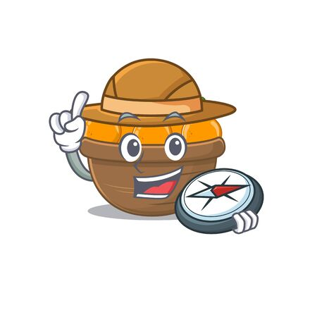 Orange fruit basket an experienced explorer with a compass. Vector illustration