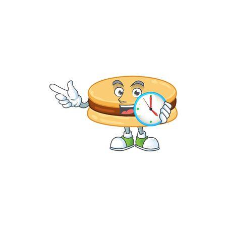 cartoon character style of cheerful brown alfajor with clock Çizim